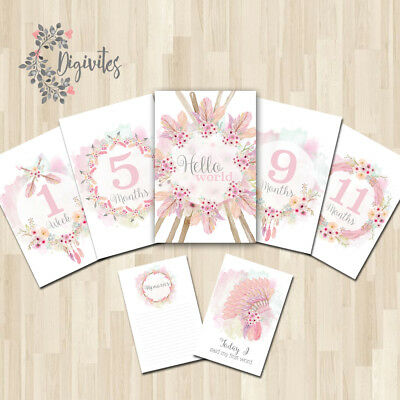 Girl Boho Floral Tribal Baby Milestone cards, Baby Photo props, Baby Keepsakes