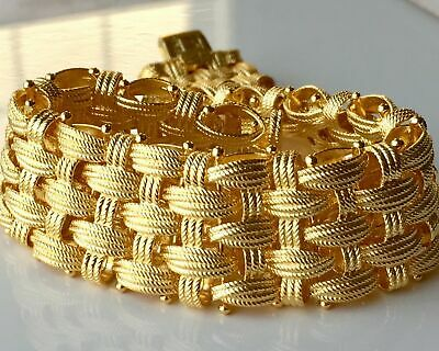 """Italian Yellow Silver Sterling 6-3/4"""" Textured Woven Bracelet, 51.8g QVC $338"""