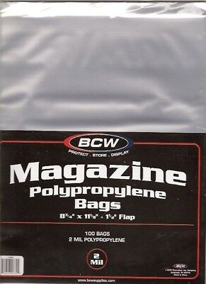 (100) Bcw Magazine Size Bags / Covers - Free Shipping