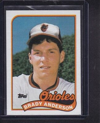 Brady Anderson 1989 Topps Baseball Rookie Card RC 757 Baltimore Orioles NM