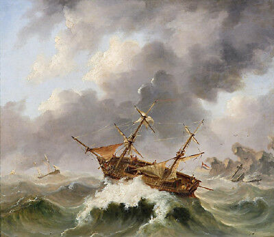 """perfect 30x30 oil painting handpainted on canvas""""Sailors in the storm""""N9446"""
