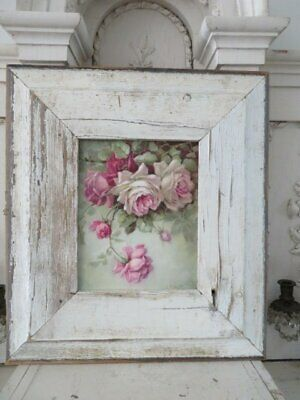 OMG Christie REPASY Canvas Print PINK & WHITE ROSES Old White Weathered FRAME