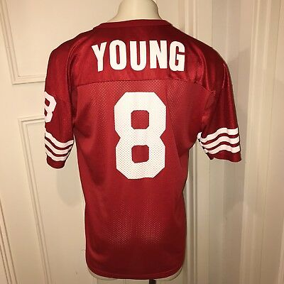 Rare Vtg 90s Champion SAN FRANCISCO 49ERS Steve Young Jersey Mens 48 NFL  8  Red 2c241792c