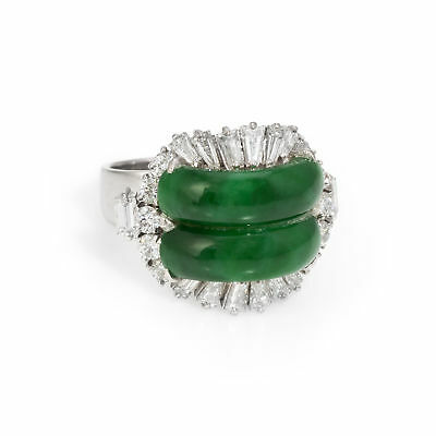 c4245b0c3 Jadeite Jade Diamond Cocktail Ring Vintage 14k White Gold Estate Fine  Jewelry