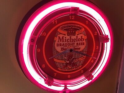 Michelob Draught Beer Bar Advertising Man Cave Neon Wall Clock Sign