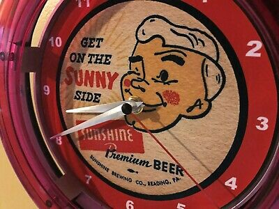 Sunshine Reading Pennsylvania Beer Bar Advertising Man Cave Neon Wall Clock Sign