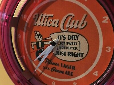 Utica Club Beer Bar Advertising Man Cave Neon Wall Clock Sign