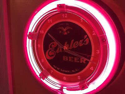 Eichler's New York Beer Bar Advertising Man Cave Neon Wall Clock Sign