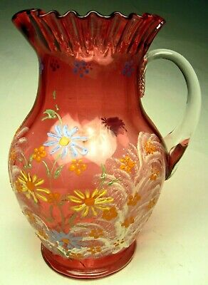 Antique Victorian Water Pitcher Cranberry with Hand Painted Enamel Flowers 1890s