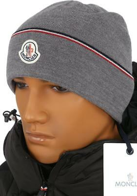 ab13751b9b3 New Moncler Men s Gray Wool Logo Patch Beanie Hat One Size Made In Italy