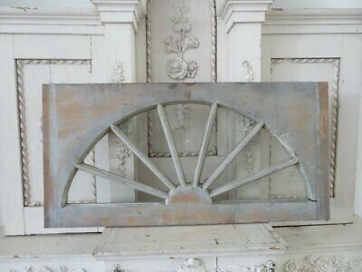 "AWESOME Old Architectural WINDOW Arched Sunburst 32"" Patina GREAT WALL DECOR"