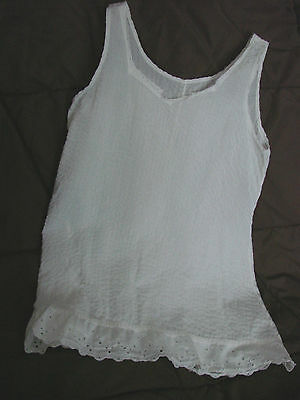 Vintage 50s Girls Childs Slip Cotton Seersucker White FC 6 EYELET LACE Shift
