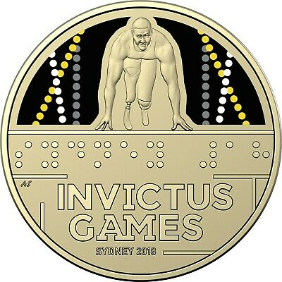 2018 Australia $1 UNC Coloured Carded Coin - INVICTUS GAMES