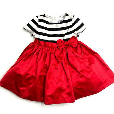 fc177bb04 OLIVIA FOR GYMBOREE Black White Striped Red Satin Bow Party Dress 18 ...