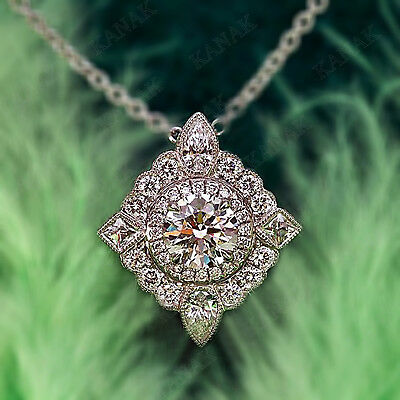 1.50 Ct Diamond 10k White Real Gold Halo Pendant Necklace for Women's