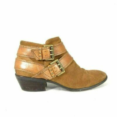3ad0995901e2f1 6 - SAM EDELMAN Brown Suede Leather PIPPEN Buckle Ankle Booties Boots 0000MB