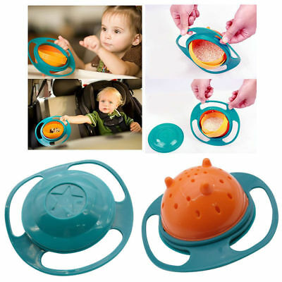 Baby Kids Child Gyro Food Bowl 360 Rotate Balance Spill-Proof Bowl Feeder Dishes