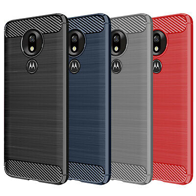 DD For Motorola Moto G7 Plus Power Play Carbon Fibre TPU Rugged Gel Case Cover
