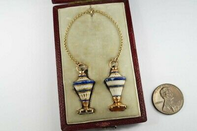PAIR of ANTIQUE GEORGIAN ERA GOLD PORCELAIN URN SHAPED SEAL FOBS / CHARMS c1780