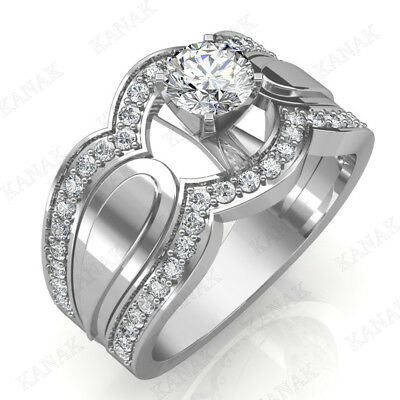 0.95 Ct Round Cut Diamond Solitaire Engagement Ring Solid 14k White Gold