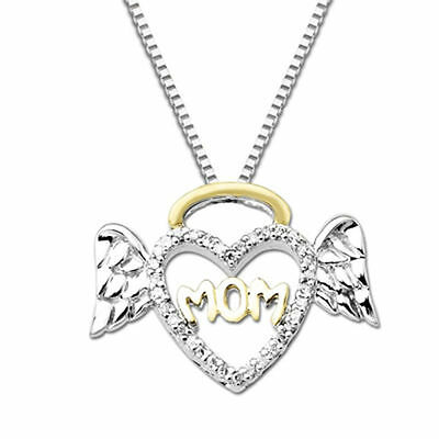 "1/10 CT Diamond Halo Winged Heart ""Mom"" Pendant 14K White Gold Over"