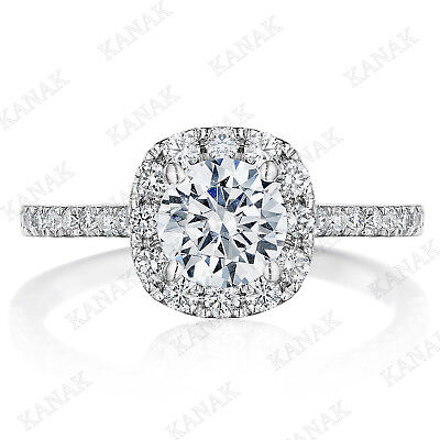 1.20 Ct Round Cut Diamond Cushion Halo Engagement Ring Solid 14k White Gold