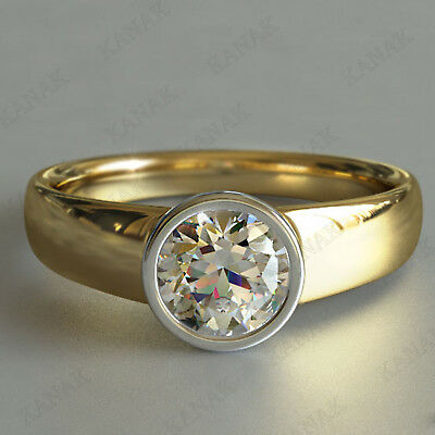 1.00 Ct Round Cut Diamond Bezel Set Solitaire Engagement Ring 10k Yellow Gold