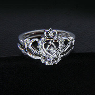 0.50 CT Round Cut Diamond 14k White Gold Over Bridal Set Claddagh Ring Size 7