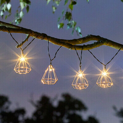 Solar Power Outdoor Rose Gold Geometric Cage LED String Lights | Party Garden