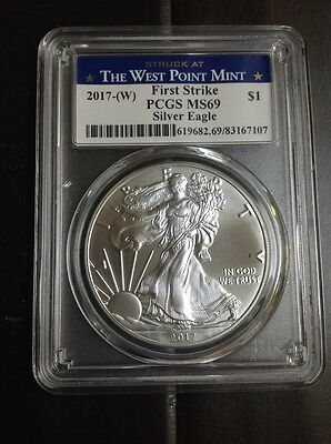 2017-(W) Silver Eagle First Strike PCGS MS69 West Point Mint Label $1 Coin oz.
