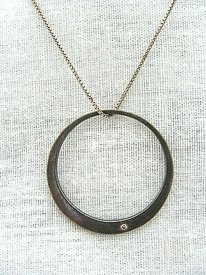 Sterling Silver Box Chain Necklace With Diamond Studded Open Circle Pendant