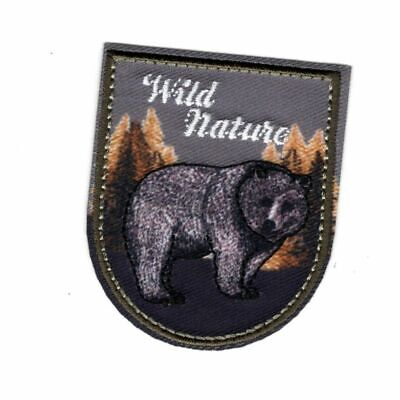 Patch Ecusson Thermocollant Wild Nature Sauvage Ours Grizzli 4,50 x 5,50 cm REF