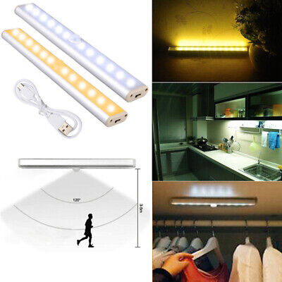 USB Rechargeable LED Cabinet Light with PIR Motion Sensor Closet Kitchen Lamp