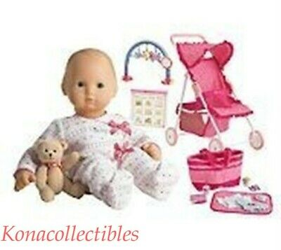 American Girl Bitty Baby Asian Doll, Hot Pink Stroller, Toy Bar, Diaper bag Lot