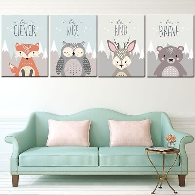 Nordic Modern Fox Deer Bear Owl Animal Wall Art Canvas Painting Home Room Decor