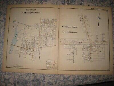 Antique 1915 East & Central Islip Connetquot Park Suffolk County New York Map Nr
