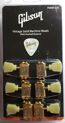 GIBSON Les Paul Klusen Gold Deluxe Tuners Pearloid Buttons Genuine Guitar Parts