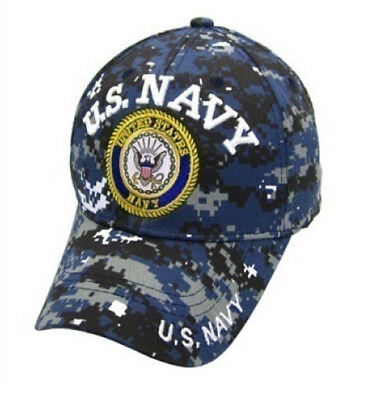 21b7a7ef1 US NAVY Ball Cap Blue Digital Camo USN Veteran NWU Type I style DEPT SEAL  Hat