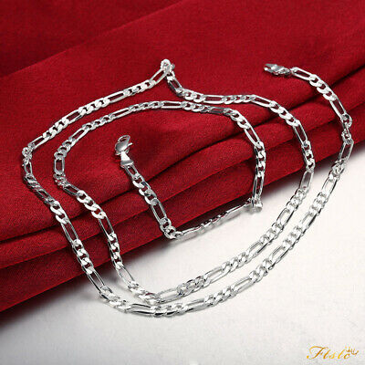 925 Sterling Silver Filled 4MM Classic Figaro Chain Necklace Wholesale