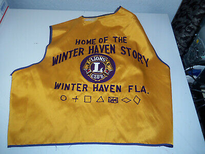 Vintage LIONS CLUB Vest 25+ Pins Patches WINTER HAVEN Florida 1970's - 1980's