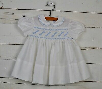 06f9fca9258 Vintage Girls BABY TOGS Sz 18m White Blue Smocked s s Dress Embroidered  Spring