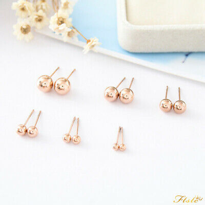 18K Rose Gold Filled Solid Ball Beads Cartilage Piercing Stud Earrings 3mm-8mm