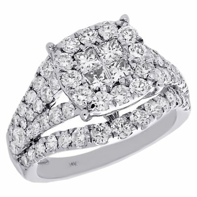 Jarret Fendu Blanc De Or Princesse Bague 14k Diamant Contour 8PXn0wOkN
