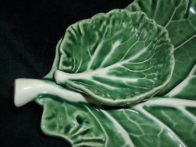"""Bordallo Pinheiro Green Cabbage Leaf Small Relish and Dip Plate 7 1/2"""" x 11"""""""