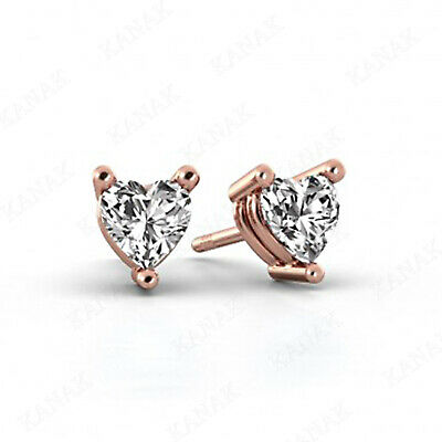 1 ct Heart Shape Diamond 14k Rose Gold Solitaire Stud Earrings