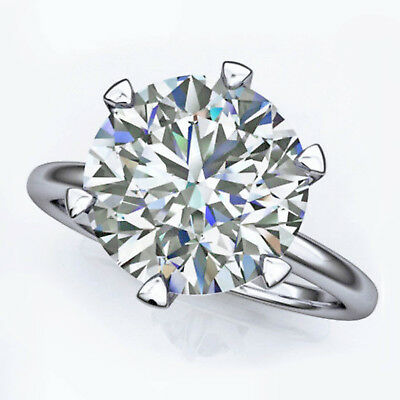 3 CT Round Cut Diamond Solid 14K White Gold Solitaire Engagement Ring For Womens