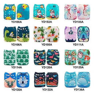 ALVABABY Reusable Baby Cloth Nappies Washable One Size Pocket Nappies Insert