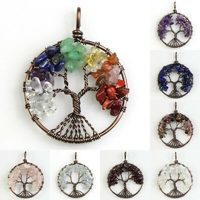 Natural Gemstones Amethyst Peridot Chips Tree of Life Copper Round Pendant 40mm