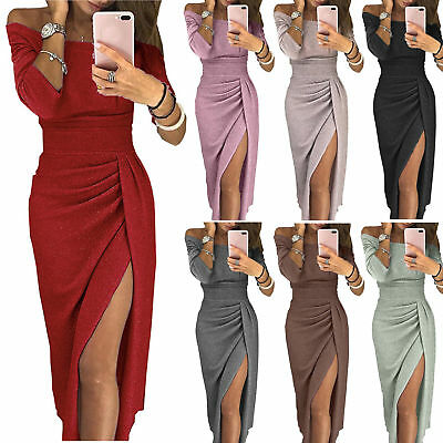 Women Off Shoulder Long Sleeve Bodycon Dress Formal Evening Party Gown Dresses