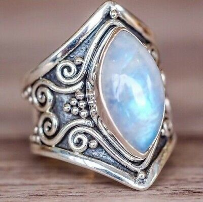 Fashion Natural Moonstone  Ring Men Women Jewelry Gemstone Wedding Size 5-11
